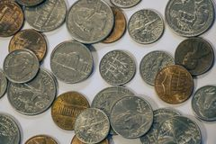 Close-up of quarters, dimes, nickels and pennies royalty free stock photography
