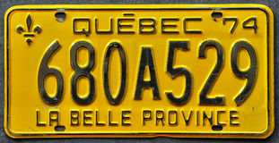 Close up of a Quebec number plate Royalty Free Stock Image
