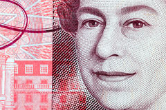 Close Up of Queen Elizabeth II on a Fifty Pond Note stock images