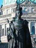 Close up of Queen Victoria statue. Statue of Queen Victoria in the backdrop of  the parliament building landmark in Canada Stock Photos