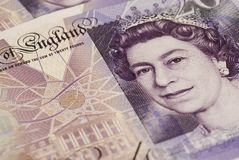 Close up of the Queens Face. Close up of the Quenns Face on a New British  Twenty Pound Note Stock Photos