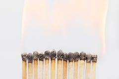 Close-up queimado dos fósforos Imagens de Stock