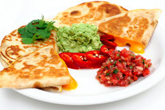Close-up Of Quesadilla And Salsa Stock Images