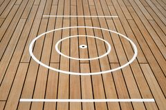 Close-up of Quoits Court on Deck of Ship. Close-up of markings of quoits court on deck of cruise ship. May also serve as a pattern to indicate an abstract target Royalty Free Stock Photo