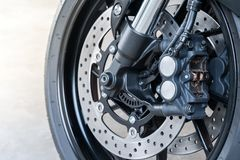 Close up of radial mount caliper on big bike, Motorcycle with Twin Floating Disk Brake and ABS system on a Sport Bike with copy sp. Close up of radial mount stock image