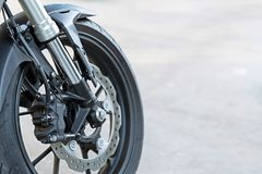 Close up of radial mount caliper on Motorcycle - disk brake and ABS system on a Sport Bikes. Close up of radial mount caliper on Motorcycle - disk brake and ABS royalty free stock photo