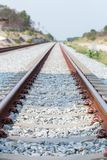 Close up rail joint, rail anchor with perspective line from railroad  tracks. Safety transportation. Avoid traffic jam. Public transportation for reduce green royalty free stock photography