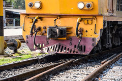 Close-up railroad locomotive travelling across Royalty Free Stock Photography