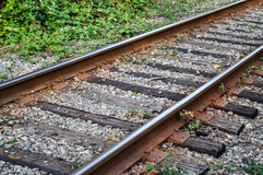 Close up railroad. Close up railway line in the town West Vancouver, Canada royalty free stock photography