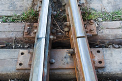 Close up of a Railroad Track Junction. Rusty Stock Photo