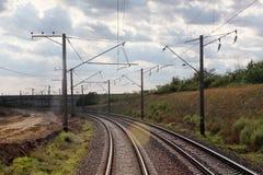 Close up of railroad tracks Royalty Free Stock Photo