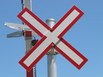 Close-up of a railroad warning sign. Royalty Free Stock Photo