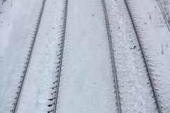 Close up of railroad in winter Stock Photos