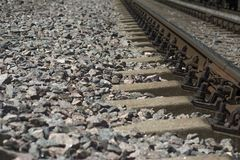 Rails and concrete sleepers close up stock photo