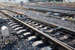 Close up of the railway track royalty free stock photos