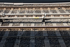 Close up of railway tracks Royalty Free Stock Photo