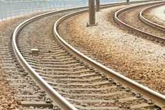 Close-up of the railway tracks complex junction Stock Photography