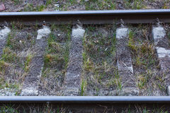 Close up of railway tracks. Horizontal Stock Photography