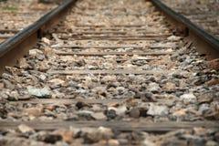 Close up railway tracks. (railroad tracks Royalty Free Stock Photography