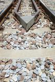 Close-up of the railway tracks. Used in transportation.  stock photo
