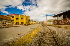 Close-up of railway at the train station of Chimbacalle Quito in Pichincha. It is the starting point of many luxury. Train journeys in the volcanic area Royalty Free Stock Image
