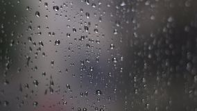 Close up rain drop on window glass stock video footage