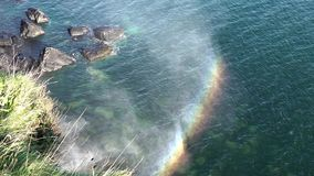 Close-up of a rainbow next to the Kilt Rock waterfall in Scotland