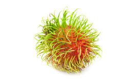 Close up  rambutan. Close up front side  rambutan on white background Royalty Free Stock Images