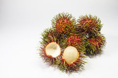 Close up Rambutan fruits isolated on white background Royalty Free Stock Images