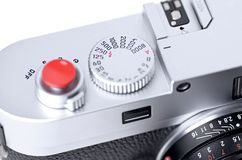 Close up of rangefinder camera. Closeup picture of classic rangefinder camera Stock Image