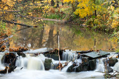 Close-up of rapids of river with golden foliage reflection in water, long exposure Royalty Free Stock Image