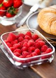 Close-up on raspberries in a plastic container on a wooden bench. stock photography