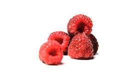 Close-up of raspberries on white background Royalty Free Stock Photo