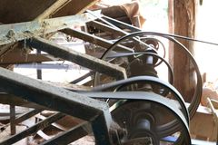 Close up Ratchet The ancient rice mill is also available in Thai. Land royalty free stock images