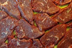 Raw beef steaks. Close up of raw beef steaks ready to cook Royalty Free Stock Images