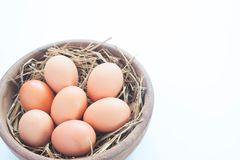 Close-up of raw chicken eggs in wooden bowl isolated on white Stock Photography