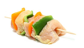 Close Up Of Raw Chicken Kebab Royalty Free Stock Image