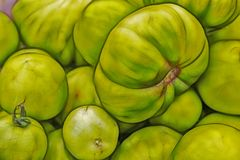 Close up raw green tomatoes on market stand royalty free stock photography