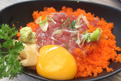 Close up of the raw mince tuna with shrimp eggs Stock Photos