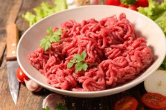 Raw minced beef. Close up on raw minced beef Royalty Free Stock Image