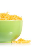 Close up of raw pasta in bowl Stock Photography