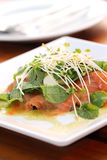 Close up raw salmon salad Royalty Free Stock Photography