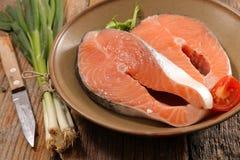 Raw salmon steak. Close up on raw salmon steak Royalty Free Stock Photos