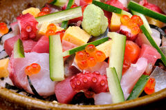 Close up Raw seafood mix with zucchini Royalty Free Stock Photo