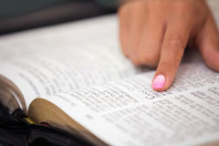 Close-up of Reading the Holy Bible Stock Image