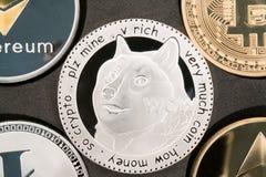 Close up real da moeda de prata do cryptocurrency de Dogecoin Imagem de Stock
