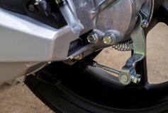 Close up of rear drum brake pedal on motorcycle. Close up of rear drum brake pedal on new motorcycle Stock Image