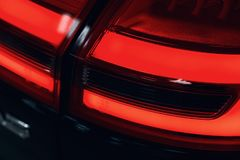 Close-up of the rear light of a modern car. Led optics stock image