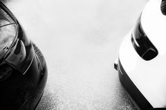 Close up on rear light on sport cars, black and white Royalty Free Stock Photos