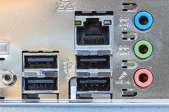 Close up rear panel of computer Stock Images